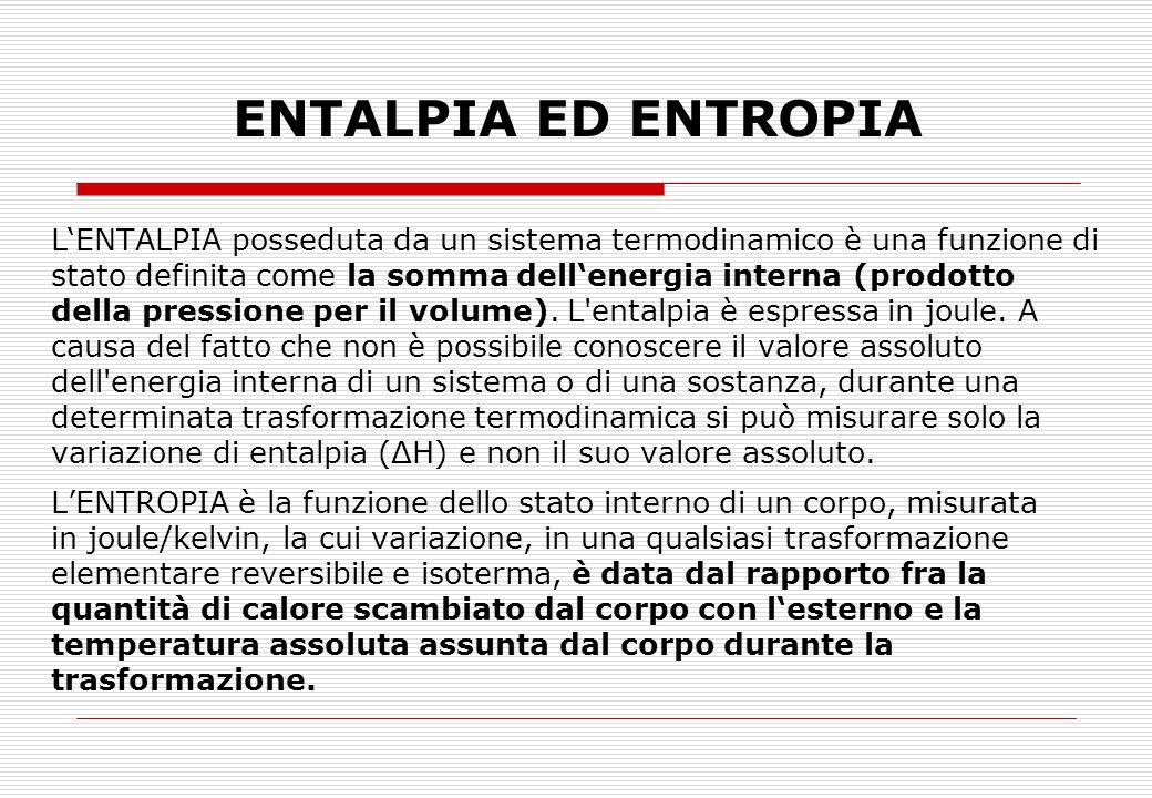 ENTALPIA ED ENTROPIA L'ENTALPIA posseduta da un sistema termodinamico è una funzione di stato definita come la somma dell'energia interna (prodotto de