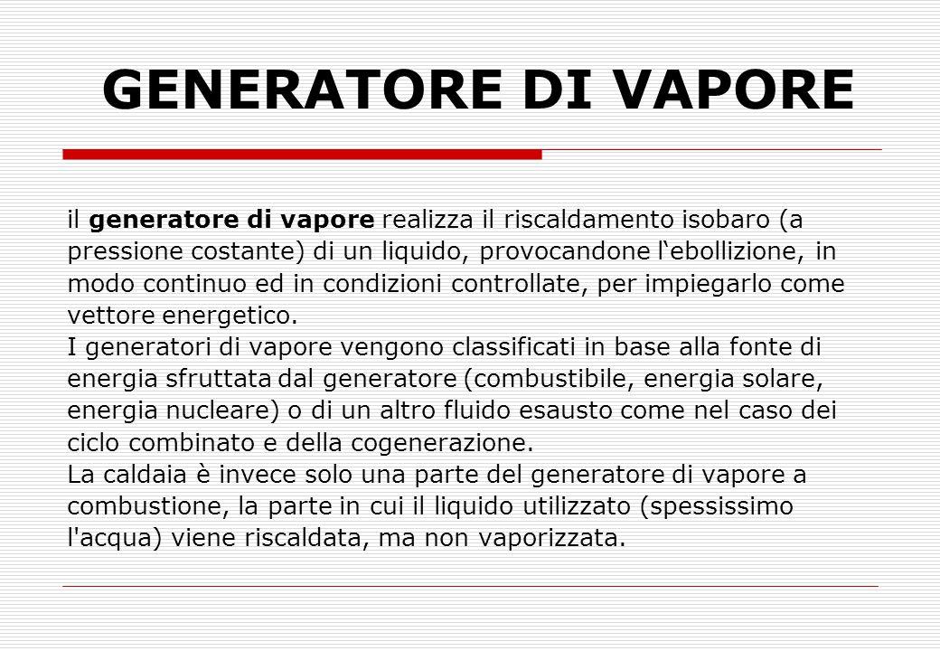 GENERATORE DI VAPORE il generatore di vapore realizza il riscaldamento isobaro (a pressione costante) di un liquido, provocandone l'ebollizione, in mo