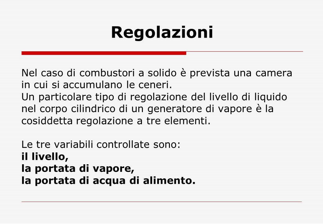 Regolazioni Nel caso di combustori a solido è prevista una camera in cui si accumulano le ceneri. Un particolare tipo di regolazione del livello di li