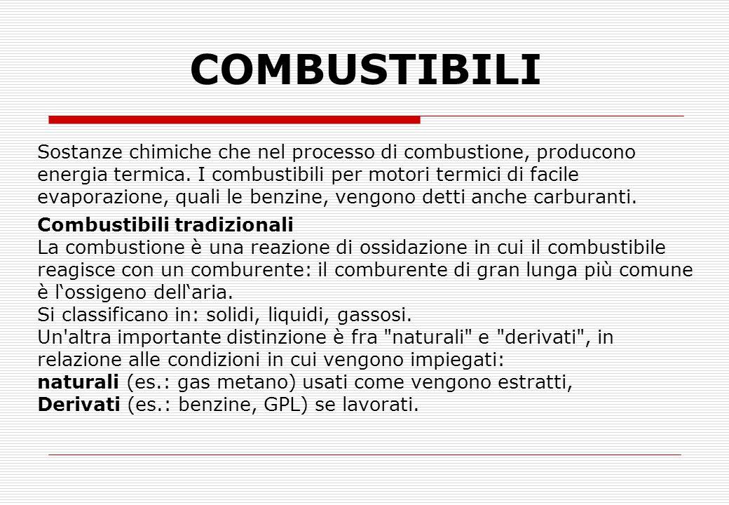 COMBUSTIONE E COMBUSTIBILI Per avere una combustione occorre combinare due sostanze: il combustibile che contiene soprattutto carbonio (C) e idrogeno (H), combinati fra loro ma anche zolfo (S) presente come impurità e il comburente (aria) che fornisce l'ossigeno necessario.