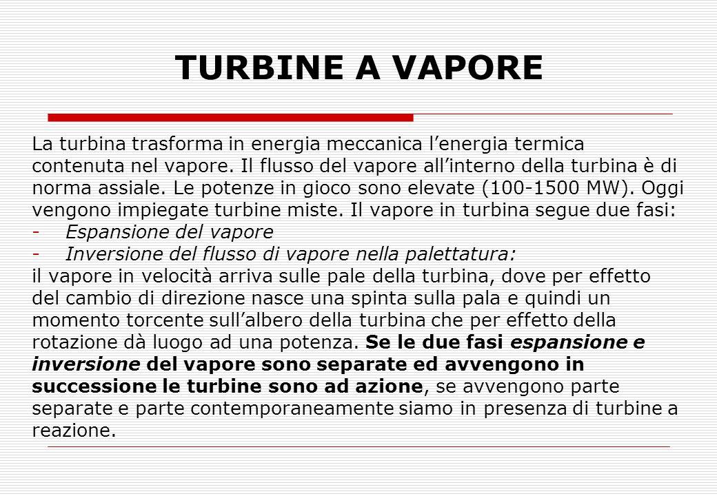 TURBINE A VAPORE La turbina trasforma in energia meccanica l'energia termica contenuta nel vapore. Il flusso del vapore all'interno della turbina è di