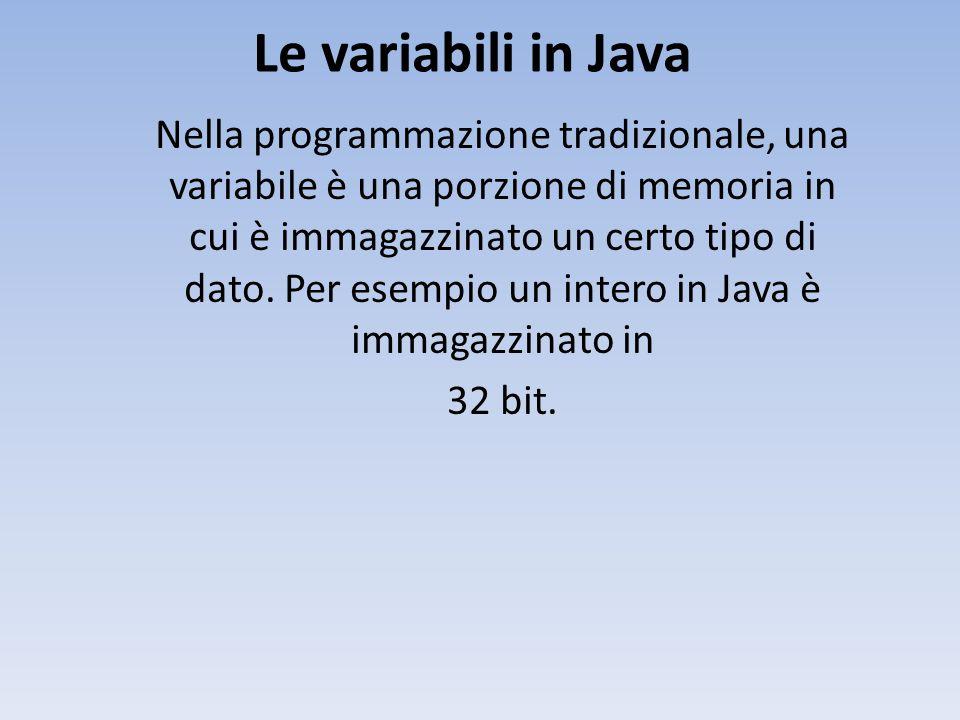 Le variabili in Java Nella programmazione tradizionale, una variabile è una porzione di memoria in cui è immagazzinato un certo tipo di dato.