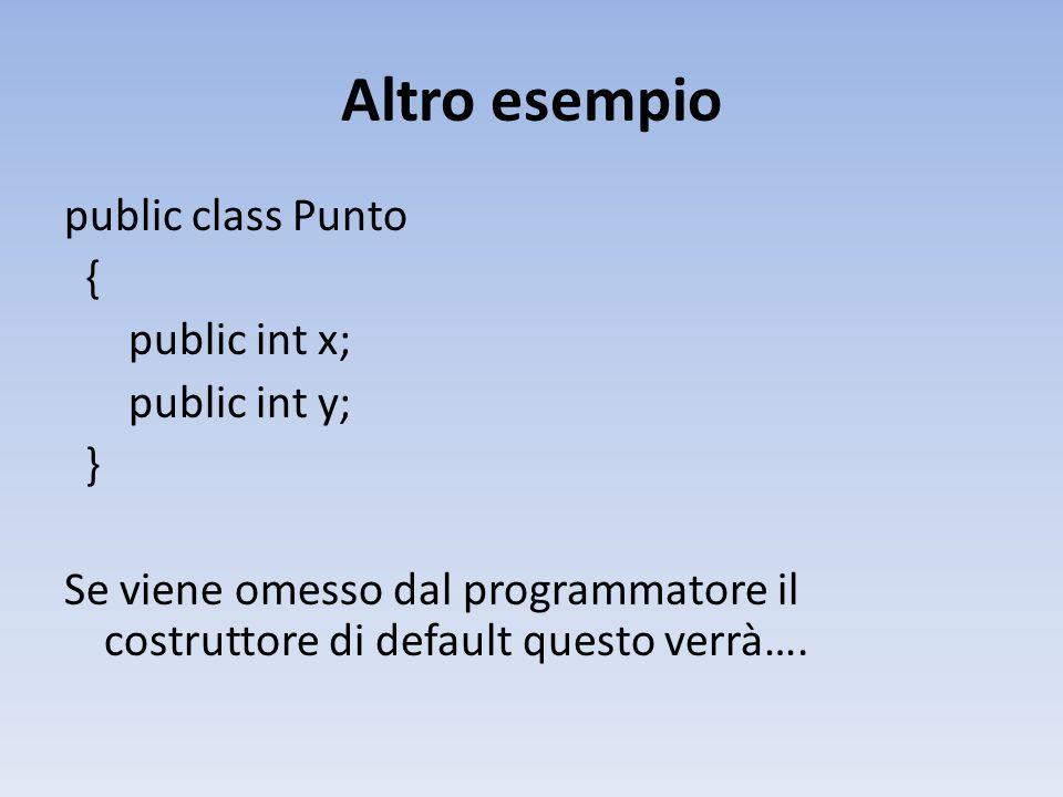 Altro esempio public class Punto { public int x; public int y; } Se viene omesso dal programmatore il costruttore di default questo verrà….