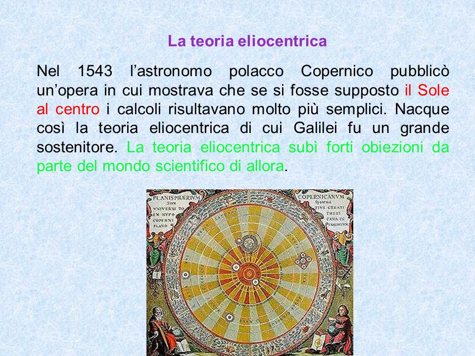 La teoria eliocentrica Nel 1543 l'astronomo polacco Copernico pubblicò un'opera in cui mostrava che se si fosse supposto il Sole al centro i calcoli r