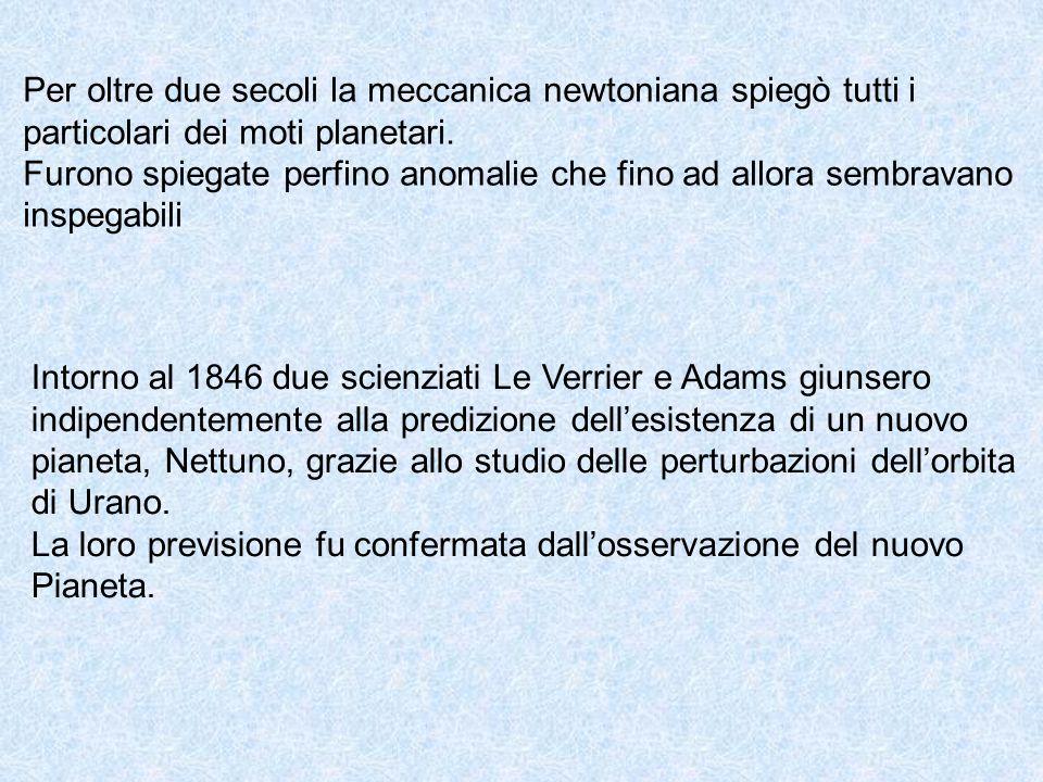 Per oltre due secoli la meccanica newtoniana spiegò tutti i particolari dei moti planetari. Furono spiegate perfino anomalie che fino ad allora sembra
