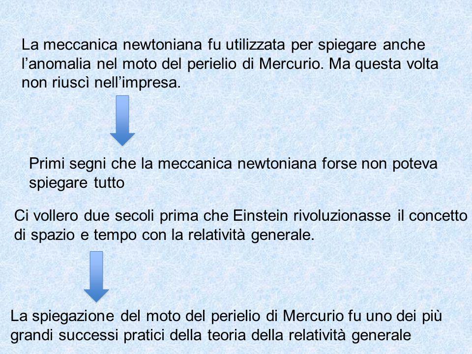 La meccanica newtoniana fu utilizzata per spiegare anche l'anomalia nel moto del perielio di Mercurio. Ma questa volta non riuscì nell'impresa. Primi