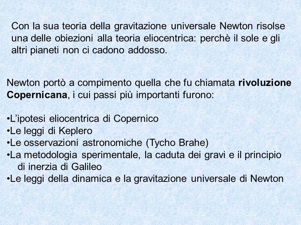 Con la sua teoria della gravitazione universale Newton risolse una delle obiezioni alla teoria eliocentrica: perchè il sole e gli altri pianeti non ci
