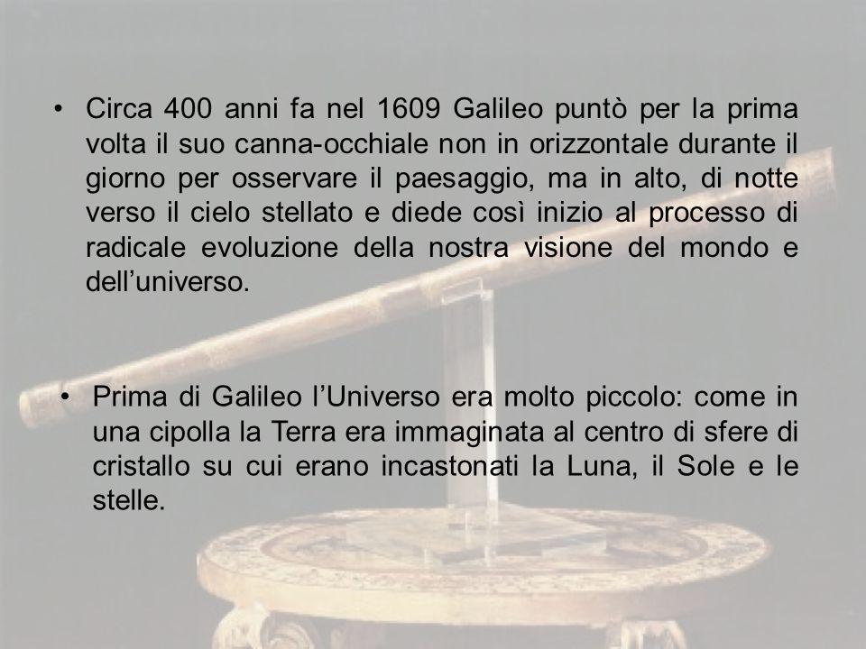Circa 400 anni fa nel 1609 Galileo puntò per la prima volta il suo canna-occhiale non in orizzontale durante il giorno per osservare il paesaggio, ma