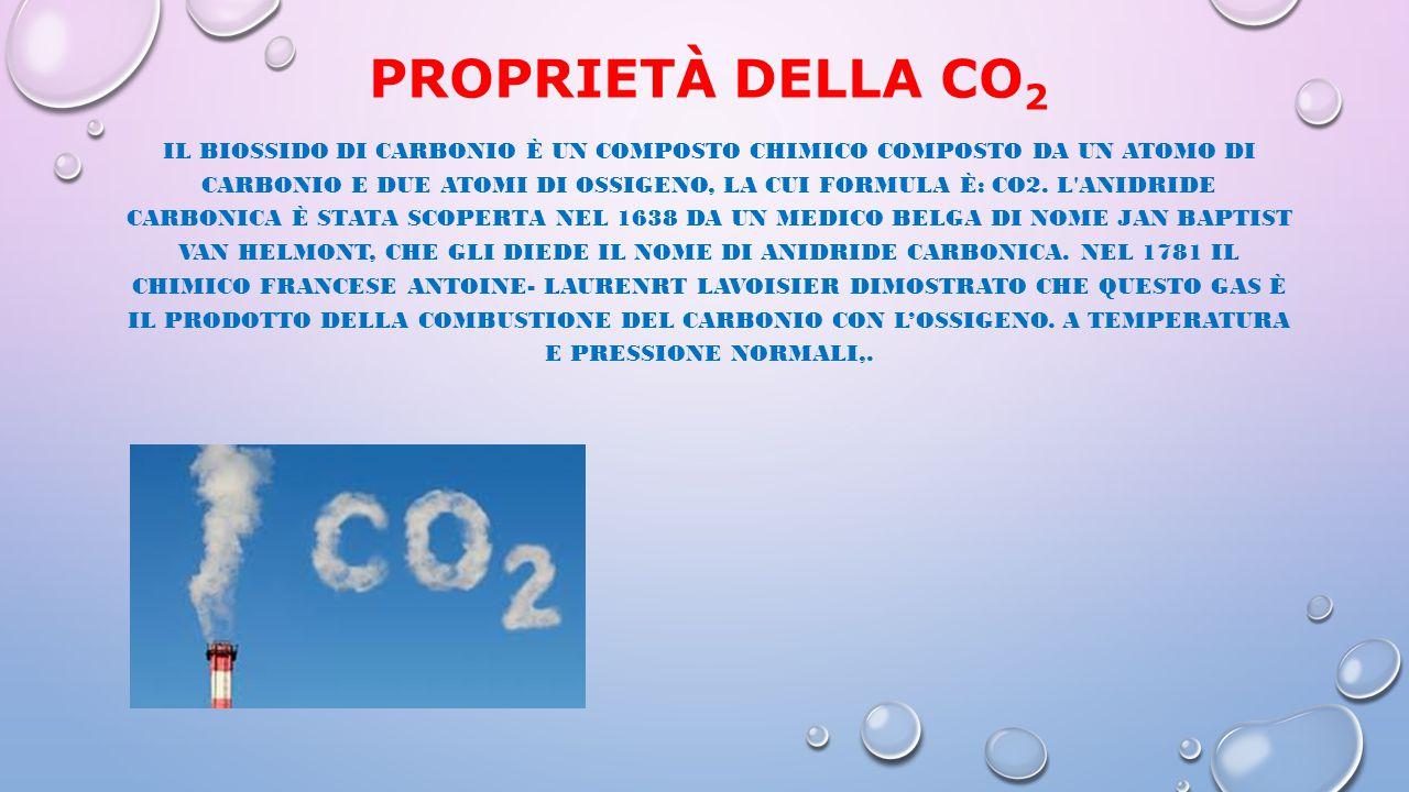 PROPRIETÀ DELLA CO 2 IL BIOSSIDO DI CARBONIO È UN COMPOSTO CHIMICO COMPOSTO DA UN ATOMO DI CARBONIO E DUE ATOMI DI OSSIGENO, LA CUI FORMULA È: CO2. L'