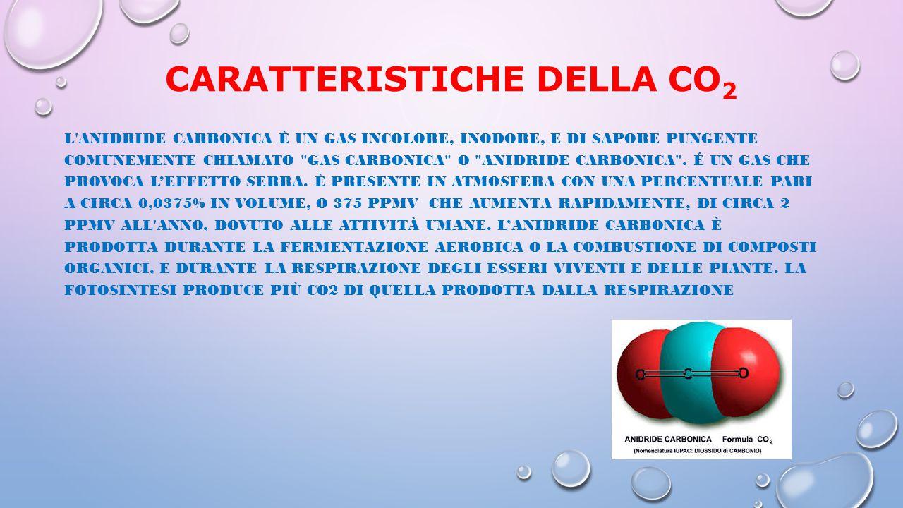 CARATTERISTICHE DELLA CO 2 L'ANIDRIDE CARBONICA È UN GAS INCOLORE, INODORE, E DI SAPORE PUNGENTE COMUNEMENTE CHIAMATO