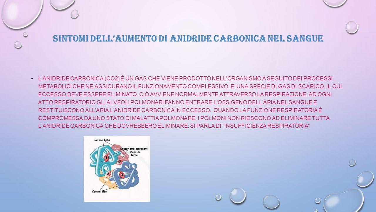 SINTOMI DELL'AUMENTO DI ANIDRIDE CARBONICA NEL SANGUE L'ANIDRIDE CARBONICA (CO2) È UN GAS CHE VIENE PRODOTTO NELL'ORGANISMO A SEGUITO DEI PROCESSI MET