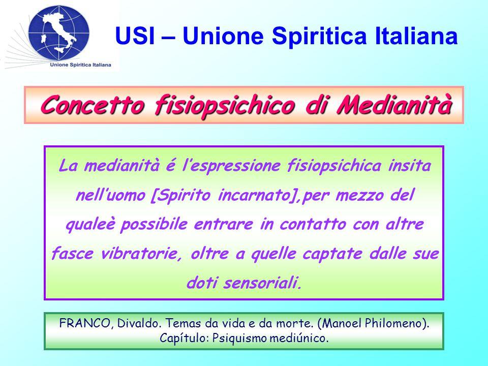 USI – Unione Spiritica Italiana Concetto fisiopsichico di Medianità La medianità é l'espressione fisiopsichica insita nell'uomo [Spirito incarnato],pe
