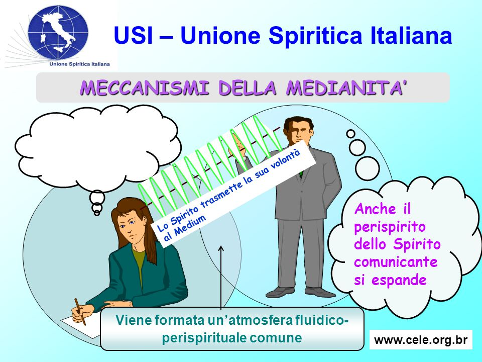 USI – Unione Spiritica Italiana Il perispirito del medium si espande Anche il perispirito dello Spirito comunicante si espande MECCANISMI DELLA MEDIAN