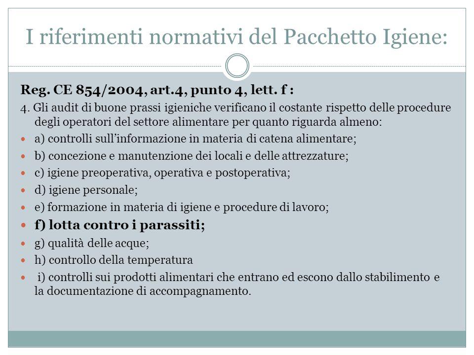 Reg. CE 854/2004, art.4, punto 4, lett. f : 4. Gli audit di buone prassi igieniche verificano il costante rispetto delle procedure degli operatori del