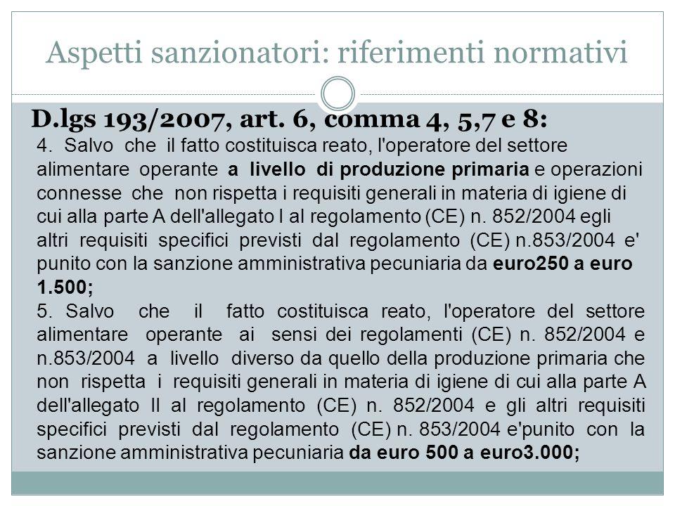 Aspetti sanzionatori: riferimenti normativi D.lgs 193/2007, art. 6, comma 4, 5,7 e 8: 4. Salvo che il fatto costituisca reato, l'operatore del settore