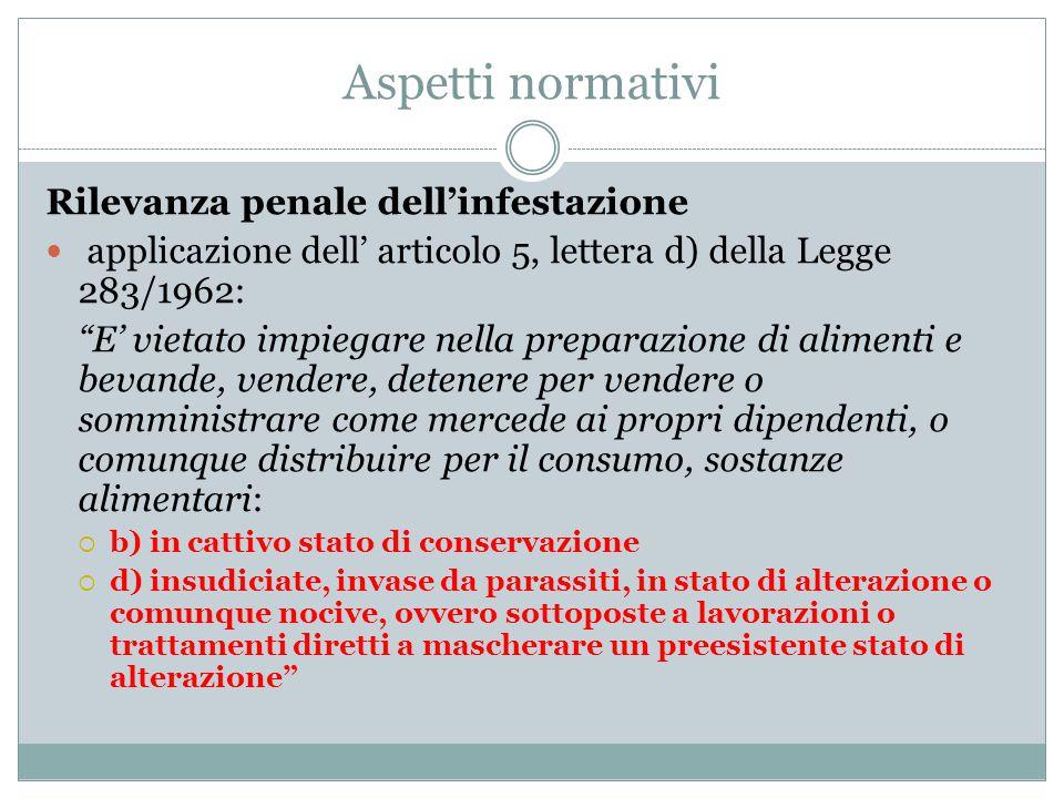 """Aspetti normativi Rilevanza penale dell'infestazione applicazione dell' articolo 5, lettera d) della Legge 283/1962: """"E' vietato impiegare nella prepa"""