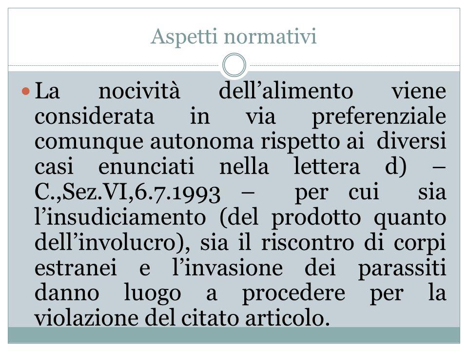 Aspetti normativi La nocività dell'alimento viene considerata in via preferenziale comunque autonoma rispetto ai diversi casi enunciati nella lettera