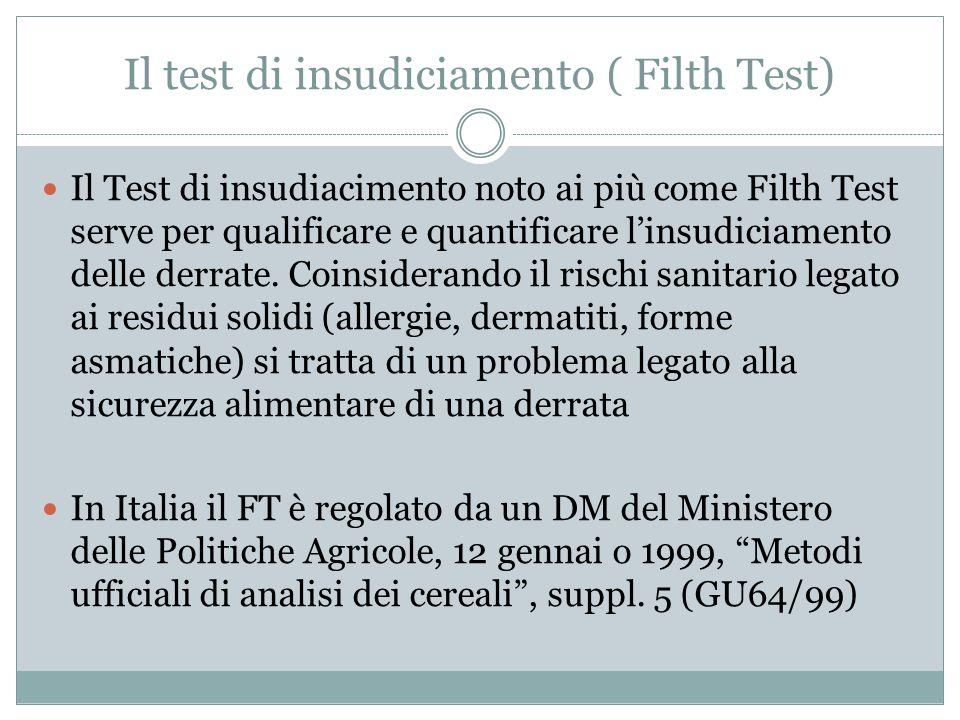 Il test di insudiciamento ( Filth Test) Il Test di insudiacimento noto ai più come Filth Test serve per qualificare e quantificare l'insudiciamento de