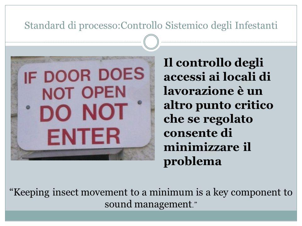Standard di processo:Controllo Sistemico degli Infestanti Il controllo degli accessi ai locali di lavorazione è un altro punto critico che se regolato