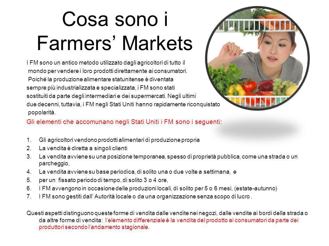Cosa sono i Farmers' Markets I FM sono un antico metodo utilizzato dagli agricoltori di tutto il mondo per vendere i loro prodotti direttamente ai consumatori.