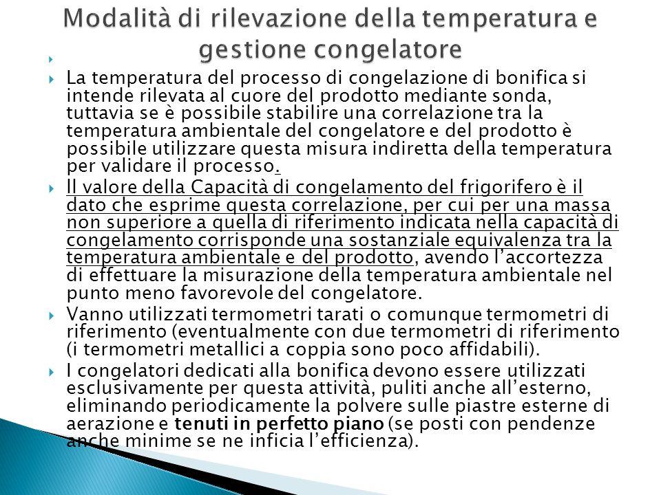   La temperatura del processo di congelazione di bonifica si intende rilevata al cuore del prodotto mediante sonda, tuttavia se è possibile stabilir