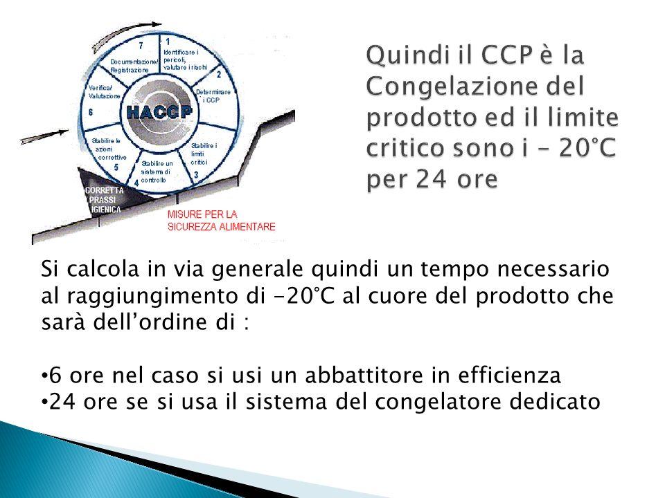 Si calcola in via generale quindi un tempo necessario al raggiungimento di -20°C al cuore del prodotto che sarà dell'ordine di : 6 ore nel caso si usi