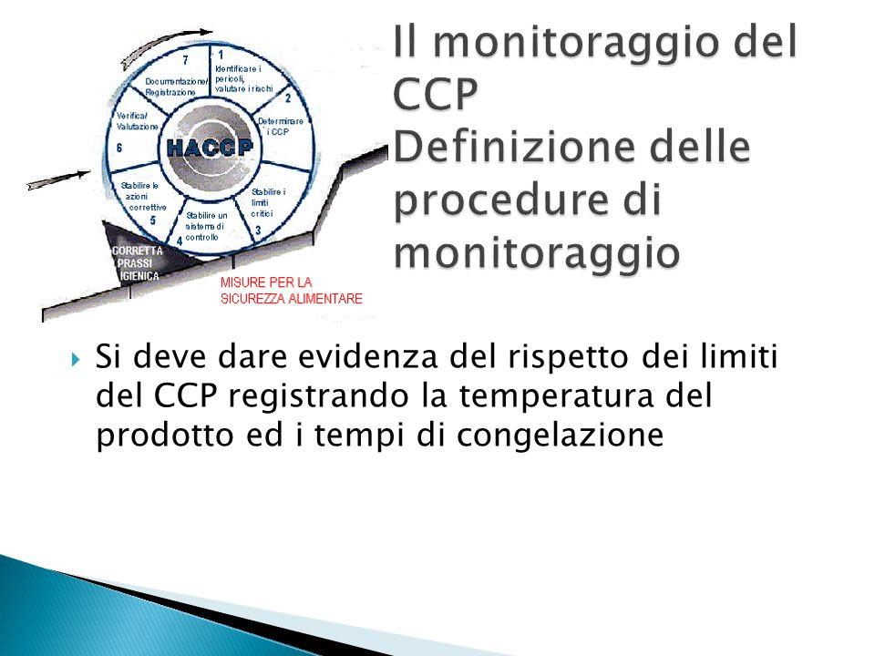  Si deve dare evidenza del rispetto dei limiti del CCP registrando la temperatura del prodotto ed i tempi di congelazione