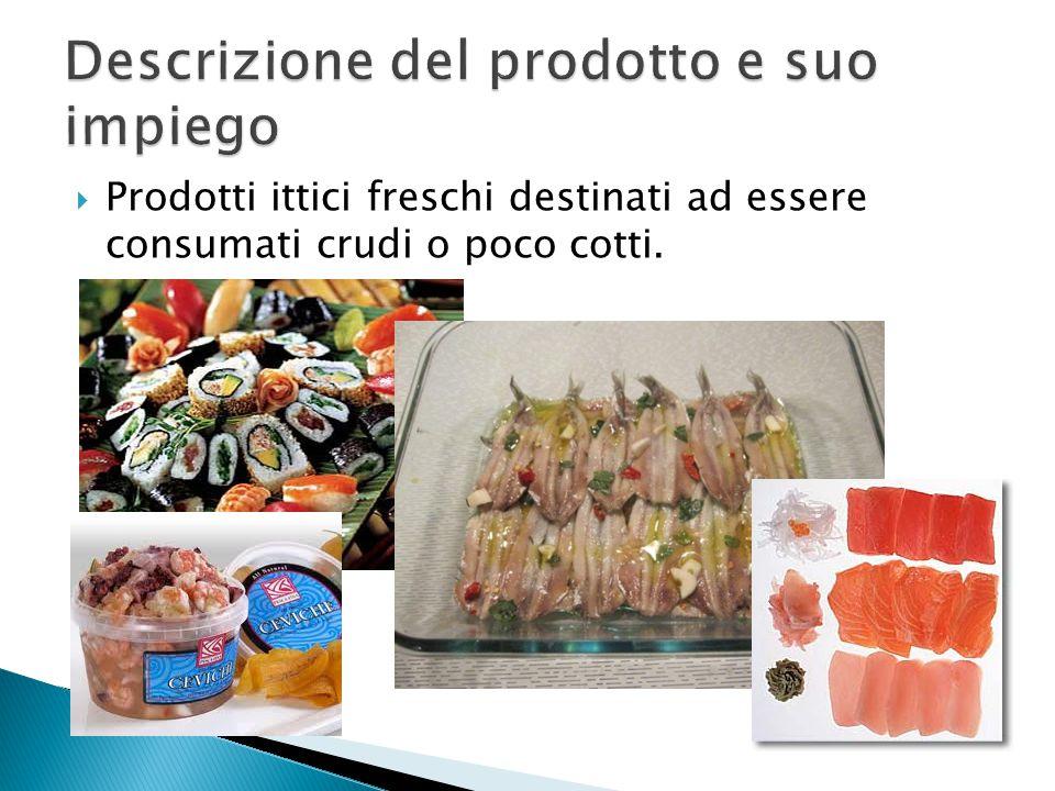  Prodotti ittici freschi destinati ad essere consumati crudi o poco cotti.