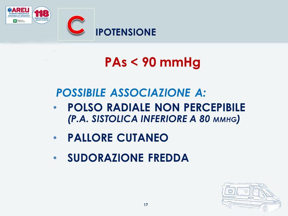 PAs < 90 mmHg POSSIBILE ASSOCIAZIONE A: POLSO RADIALE NON PERCEPIBILE (P.A.