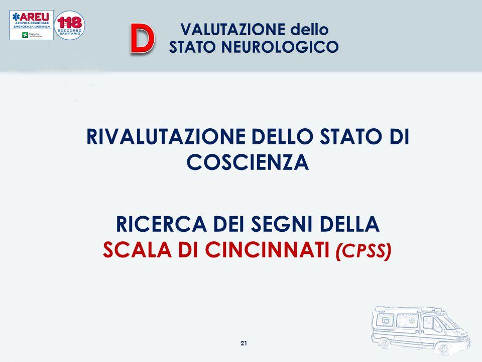 RIVALUTAZIONE DELLO STATO DI COSCIENZA RICERCA DEI SEGNI DELLA SCALA DI CINCINNATI (CPSS) 21