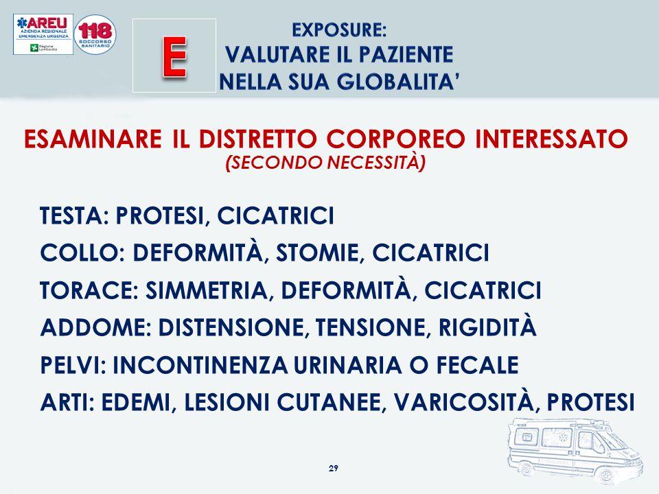 29 ESAMINARE IL DISTRETTO CORPOREO INTERESSATO (SECONDO NECESSITÀ) TESTA: PROTESI, CICATRICI COLLO: DEFORMITÀ, STOMIE, CICATRICI TORACE: SIMMETRIA, DEFORMITÀ, CICATRICI ADDOME: DISTENSIONE, TENSIONE, RIGIDITÀ PELVI: INCONTINENZA URINARIA O FECALE ARTI: EDEMI, LESIONI CUTANEE, VARICOSITÀ, PROTESI