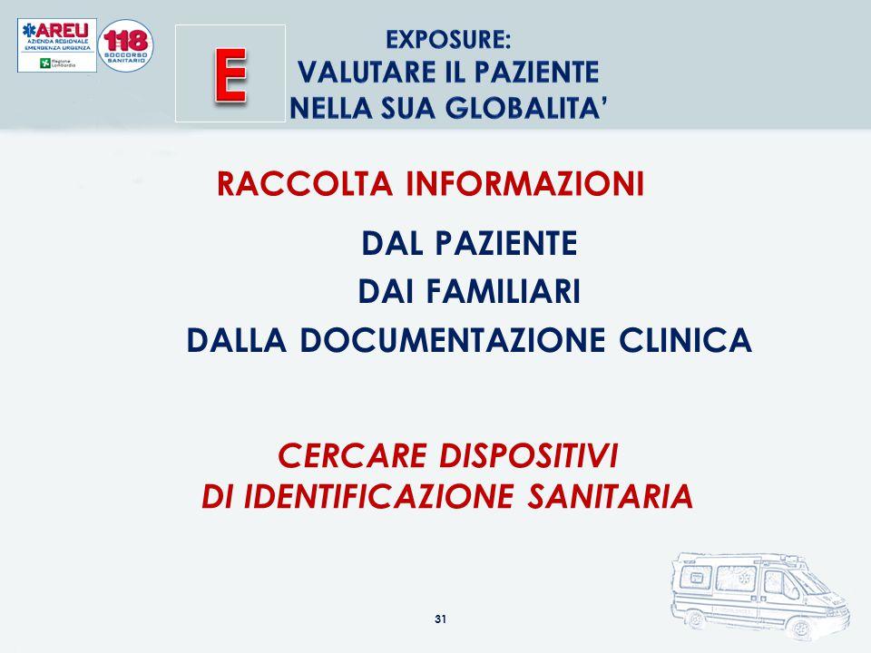 31 RACCOLTA INFORMAZIONI DAL PAZIENTE DAI FAMILIARI DALLA DOCUMENTAZIONE CLINICA CERCARE DISPOSITIVI DI IDENTIFICAZIONE SANITARIA