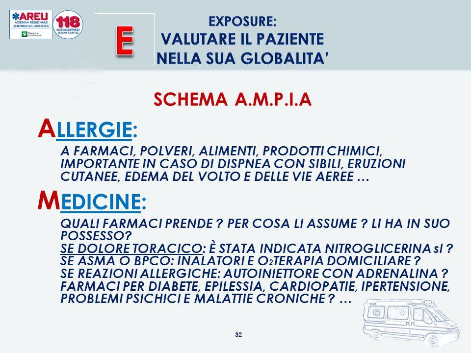 32 SCHEMA A.M.P.I.A A LLERGIE: A FARMACI, POLVERI, ALIMENTI, PRODOTTI CHIMICI, IMPORTANTE IN CASO DI DISPNEA CON SIBILI, ERUZIONI CUTANEE, EDEMA DEL VOLTO E DELLE VIE AEREE … M EDICINE: QUALI FARMACI PRENDE .