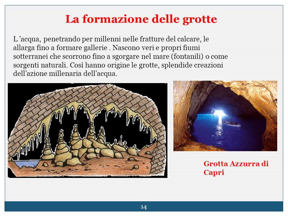 La formazione delle grotte L 'acqua, penetrando per millenni nelle fratture del calcare, le allarga fino a formare gallerie. Nascono veri e propri fiu