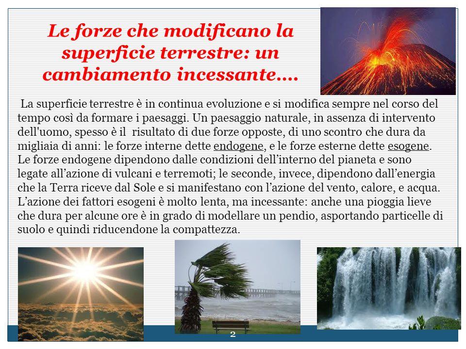 Erosione da vento e acqua, il riscaldamento solare, le attività umane sono processi esogeni.
