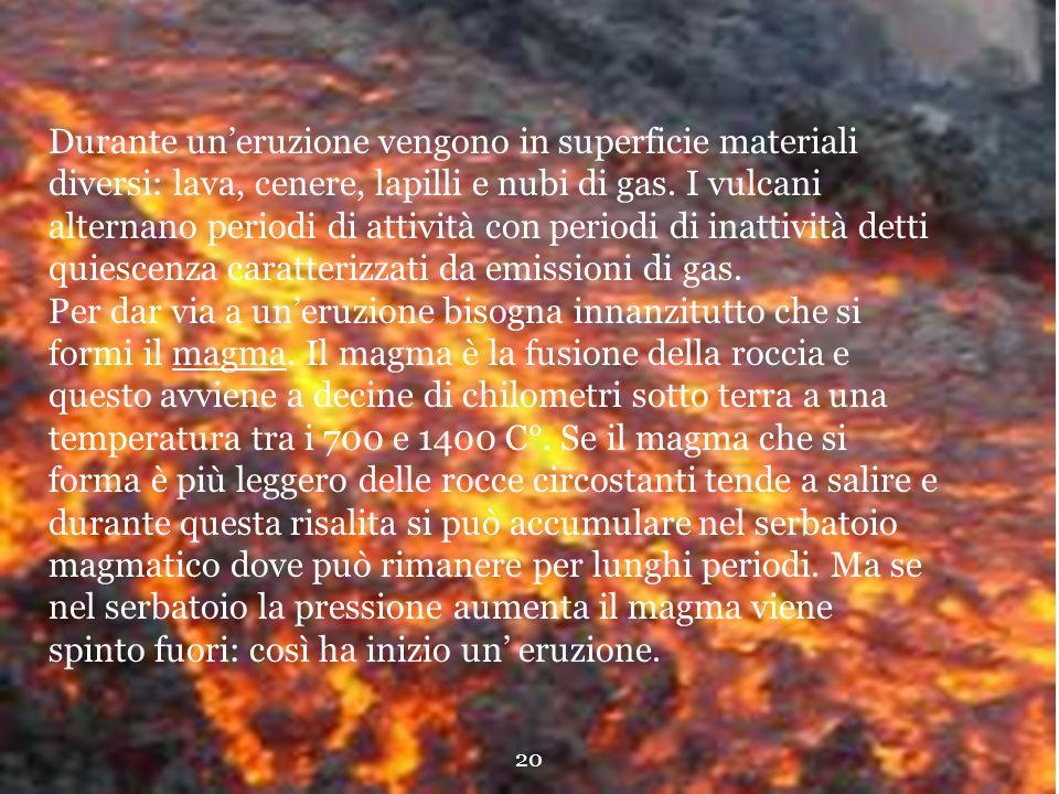 Durante un'eruzione vengono in superficie materiali diversi: lava, cenere, lapilli e nubi di gas. I vulcani alternano periodi di attività con periodi