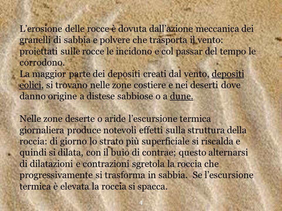 L'erosione delle rocce è dovuta dall'azione meccanica dei granelli di sabbia e polvere che trasporta il vento: proiettati sulle rocce le incidono e co