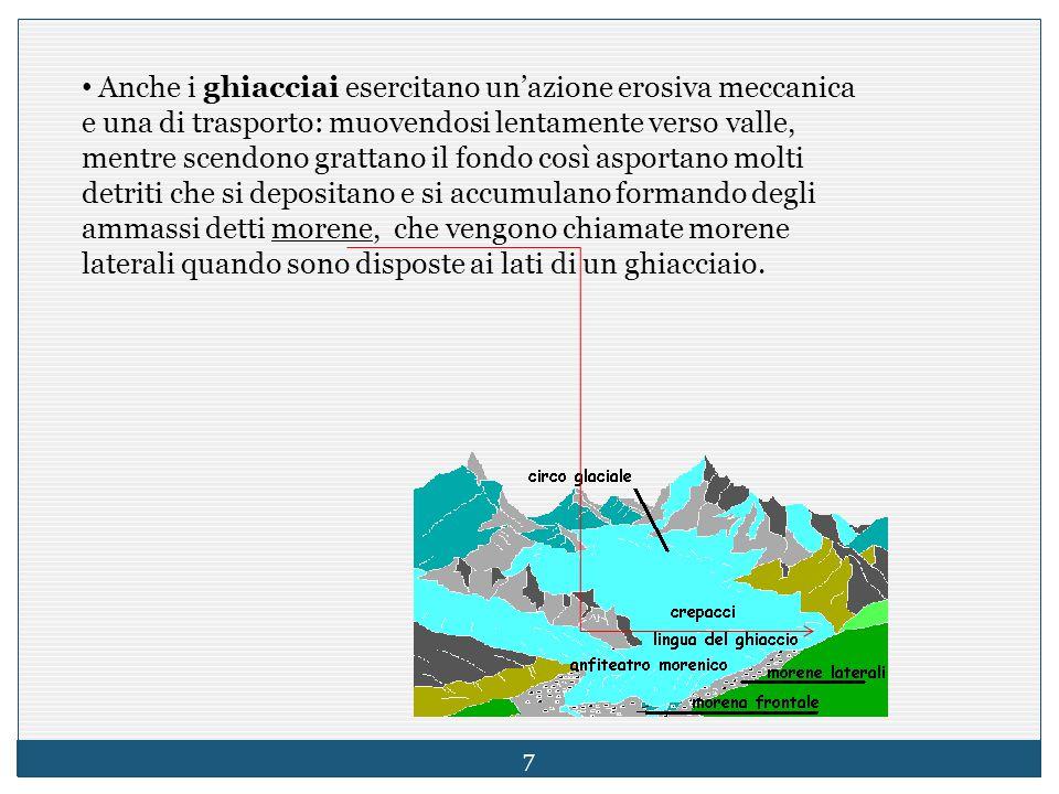 Anche i ghiacciai esercitano un'azione erosiva meccanica e una di trasporto: muovendosi lentamente verso valle, mentre scendono grattano il fondo così