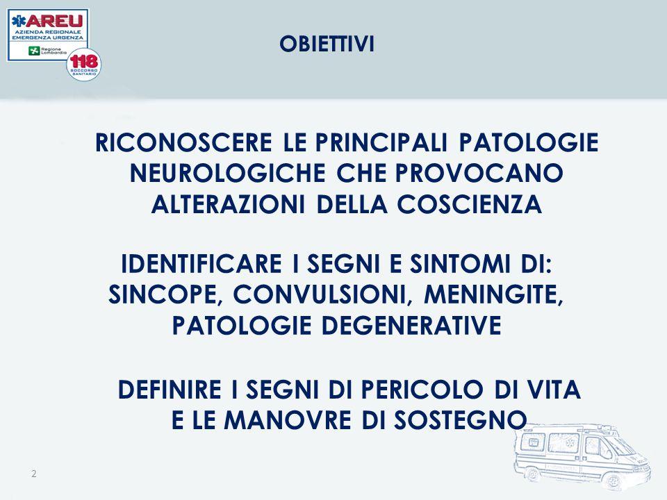 2 RICONOSCERE LE PRINCIPALI PATOLOGIE NEUROLOGICHE CHE PROVOCANO ALTERAZIONI DELLA COSCIENZA IDENTIFICARE I SEGNI E SINTOMI DI: SINCOPE, CONVULSIONI,