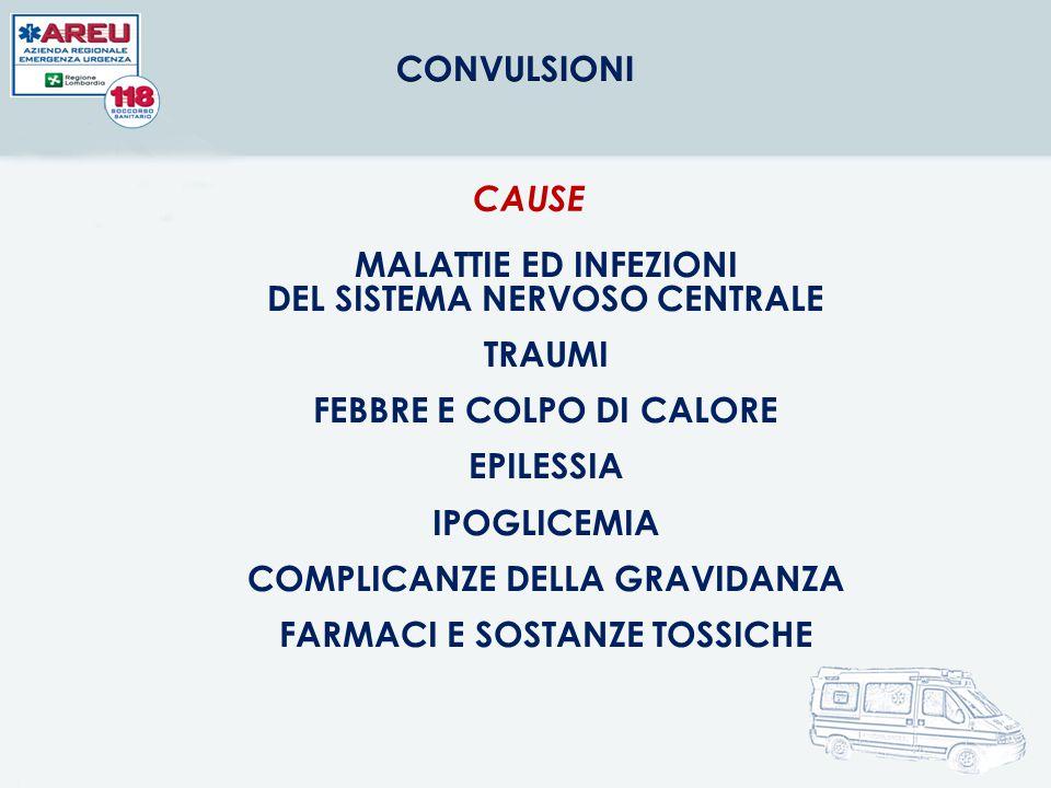 MALATTIE ED INFEZIONI DEL SISTEMA NERVOSO CENTRALE TRAUMI FEBBRE E COLPO DI CALORE EPILESSIA IPOGLICEMIA COMPLICANZE DELLA GRAVIDANZA FARMACI E SOSTAN
