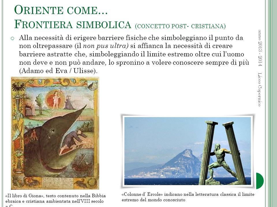 O RIENTE COME... F RONTIERA SIMBOLICA ( CONCETTO POST - CRISTIANA ) anno 2013 - 2014 Liceo Copernico «Il libro di Giona», testo contenuto nella Bibbia