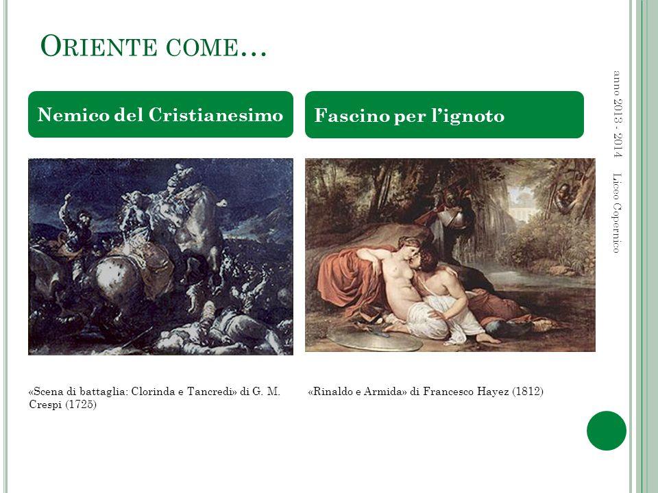 O RIENTE COME … anno 2013 - 2014 Liceo Copernico Nemico del Cristianesimo Fascino per l'ignoto «Scena di battaglia: Clorinda e Tancredi» di G.