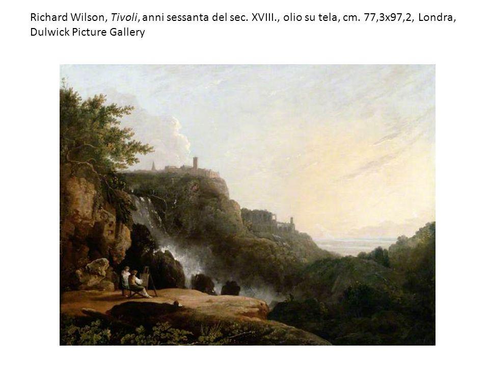 Richard Wilson, Tivoli, anni sessanta del sec. XVIII., olio su tela, cm. 77,3x97,2, Londra, Dulwick Picture Gallery