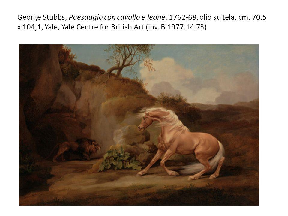 George Stubbs, Paesaggio con cavallo e leone, 1762-68, olio su tela, cm.