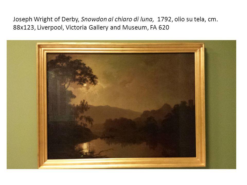 Joseph Wright of Derby, Snowdon al chiaro di luna, 1792, olio su tela, cm.