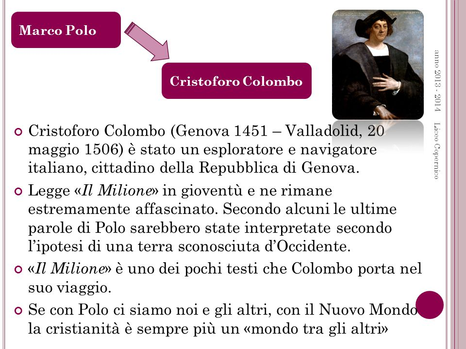 anno 2013 - 2014 Liceo Copernico Cristoforo Colombo (Genova 1451 – Valladolid, 20 maggio 1506) è stato un esploratore e navigatore italiano, cittadino della Repubblica di Genova.