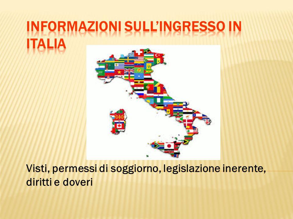Visti, permessi di soggiorno, legislazione inerente, diritti e doveri