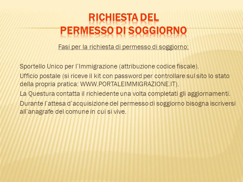 Fasi per la richiesta di permesso di soggiorno: - Sportello Unico per l'Immigrazione (attribuzione codice fiscale). - Ufficio postale (si riceve il ki