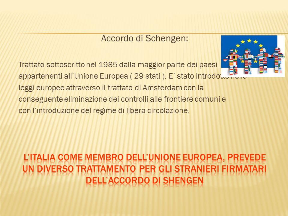 Accordo di Schengen: Trattato sottoscritto nel 1985 dalla maggior parte dei paesi appartenenti all'Unione Europea ( 29 stati ). E' stato introdotto ne