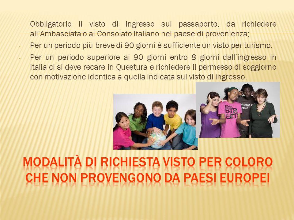 - Obbligatorio il visto di ingresso sul passaporto, da richiedere all'Ambasciata o al Consolato Italiano nel paese di provenienza; - Per un periodo pi
